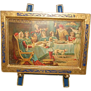 Vintage Miniature Italian FLORENTINE Art Print with Cobalt & Gilt Picture Frame plus Easel