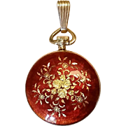 Montreux 18K Yellow Gold Red Enamel Pocket Watch Pendant