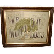"Antique Victorian Punch Paper MOTTO SAMPLER ""We Mourn Our Loss"" ~ Mourning Willow Tree & Tombstone"