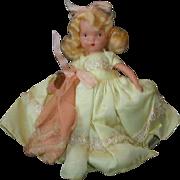 "NASB NANCY ANN Storybook Doll #182 Wednesday's Child ~ Yellow Taffeta Dress 5-1/2"" Bisque Doll Stiff Legs ~ with Wrist Tag"
