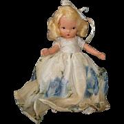 "NASB NANCY ANN Storybook Doll Season Series #91 Summer ~ Blue Rose Organza Dress ~ 5-1/2"" Bisque Doll Jointed Legs"