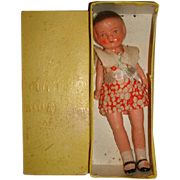 "1940s Bisque 8"" PATSY TYPE Doll in Perfection Brand Box made in Japan"