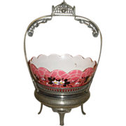 Antique Victorian Silverplate BRIDE'S BASKET w/Enameled Pink Cased Bowl ~ as found