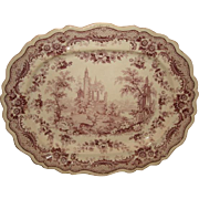 Antique c1830 Staffordshire PURPLE ANTIQUARIAN Transferware PLATTER ~ Thomas Fell Deer & Ruins 17-1/2""