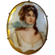 Enameled VICTORIAN Transfer QUEEN LOUISE Porcelain Portrait Pin