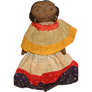 "SEMINOLE AMERICAN INDIAN Cloth Rag Doll with Embroidered Face ~ 6-1/2"" c1940"