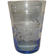 Vintage Mid Century Blue TIFFIN Glass Swedish Optic SAND CARVED Floral Vase