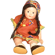 """Vintage Vogue TODDLES American INDIAN DOLL ~ 1943 Pre Ginny American Series 8"""" Composition Painted Eye ~  needs restringing"""