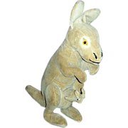 "Antique VELVET Velveteen Stuffed Toy Animal ~ 10"" Kangaroo with Joey"