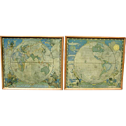 1928 NC WYETH Eastern & Western HEMISPHERE MAP Prints Framed Pair