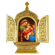 Antique Miniature Porcelain Plaque of the Raphael Madonna della Sedia in Gilt Bronze Frame