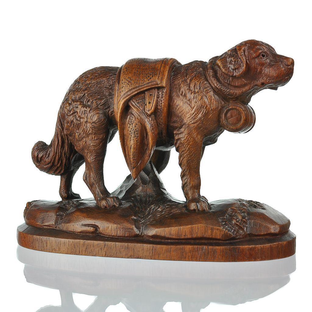 Antique swiss hand carved black forest st bernard dog