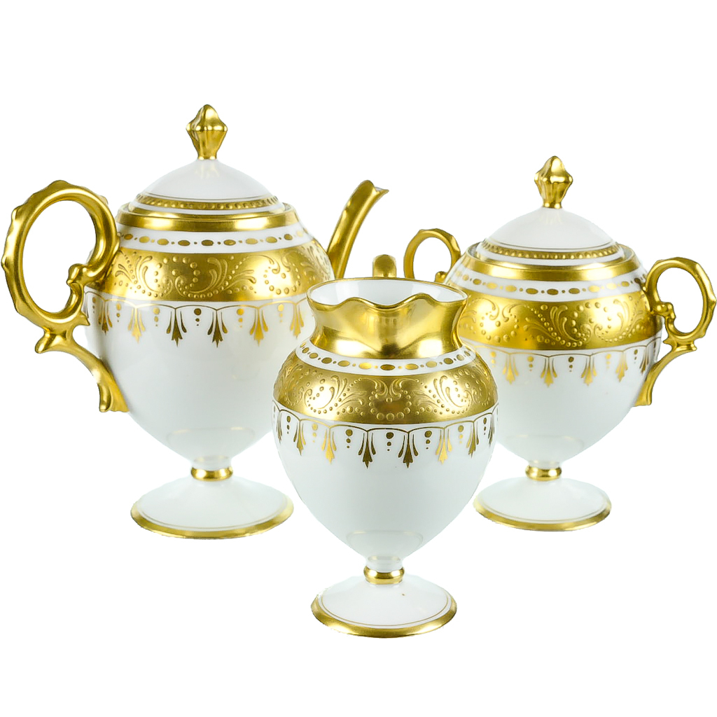 Antique Pickard Hand Painted Porcelain Tea Set With Raised Gold From Heidelbergfineantiques On
