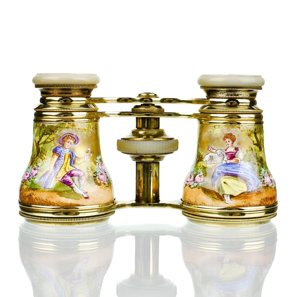 Antique French Gold Enamel Figural Opera Glasses with Mother of Pearl & Ormolu