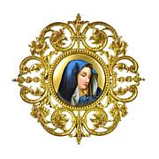 Antique Miniature Porcelain Plaque of Madonna in Gilt Bronze Frame