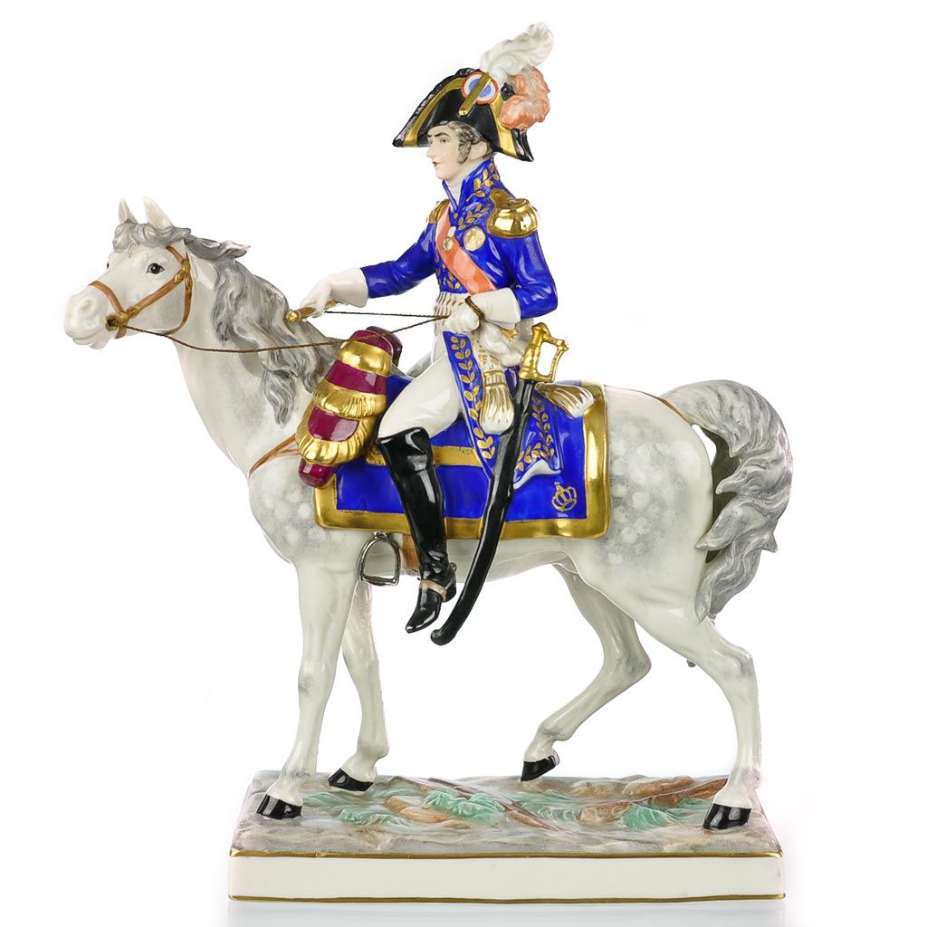 Frankenthal Wessel Porcelain Military Figure Napoleon Officer on Horseback - Hand Painted