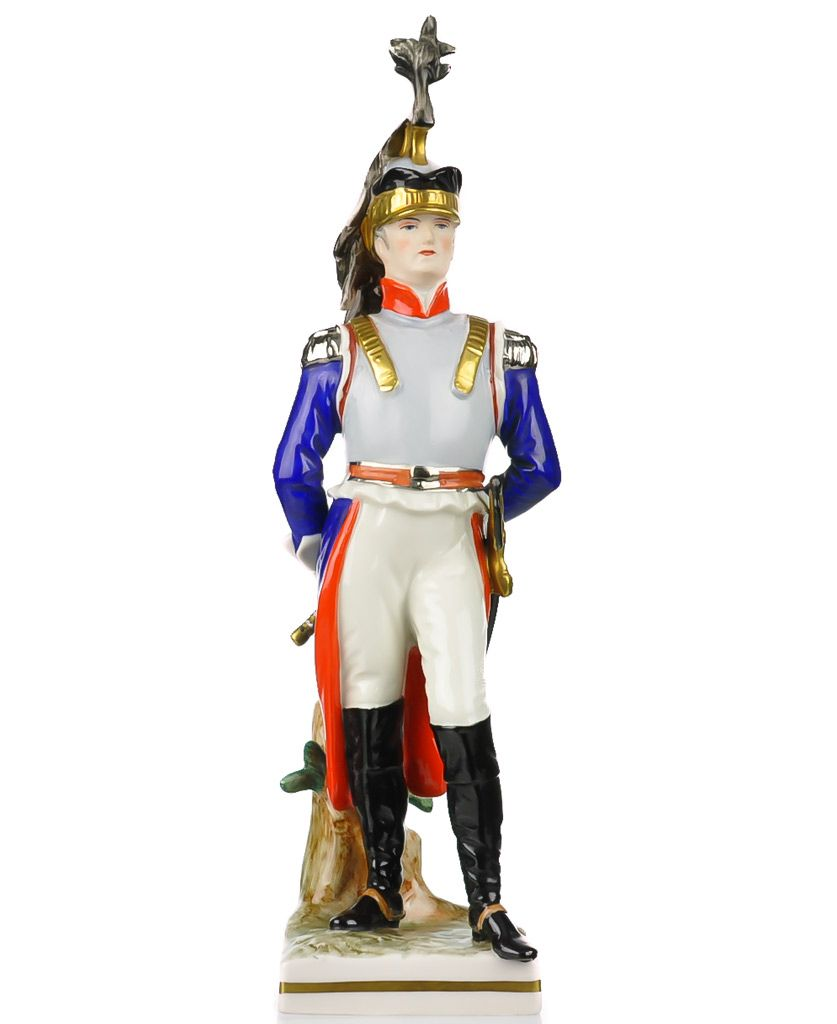 Frankenthal Wessel Porcelain Napoleonic Military Figure Hand Painted - French Cuirassier Officer