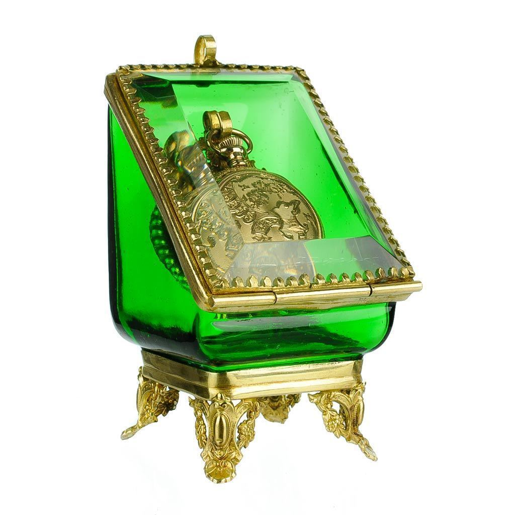Antique Emerald Green Glass Pocket Watch Holder Stand Display Vitrine Box