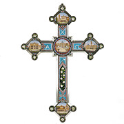"Antique Italian Grand Tour Micro Mosaic 14"" Cross, Roman Micromosaic"