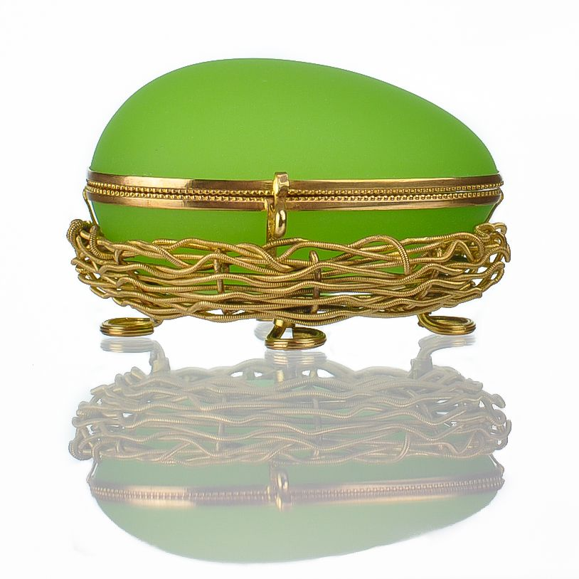 Antique French Palais Royal Green Opaline Egg in Nest Casket with Dore Bronze Mounts