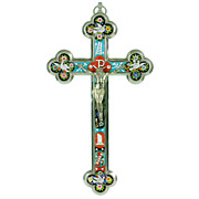 Antique Italian Grand Tour Micro Mosaic Cross - Roman Micromosaic Crucifix with Christ Figure