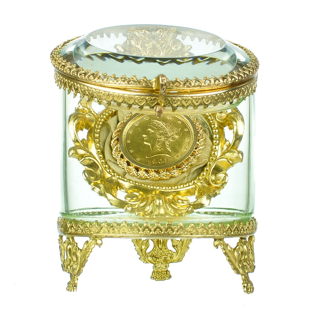 Antique Glass & Gilt Bronze Pocket Watch Holder - Jewelry Display Vitrine Casket - Rococo