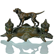 Antique French Figural Encrier Inkwell with Hunting  Dog Signed A. Bossu - Animalier