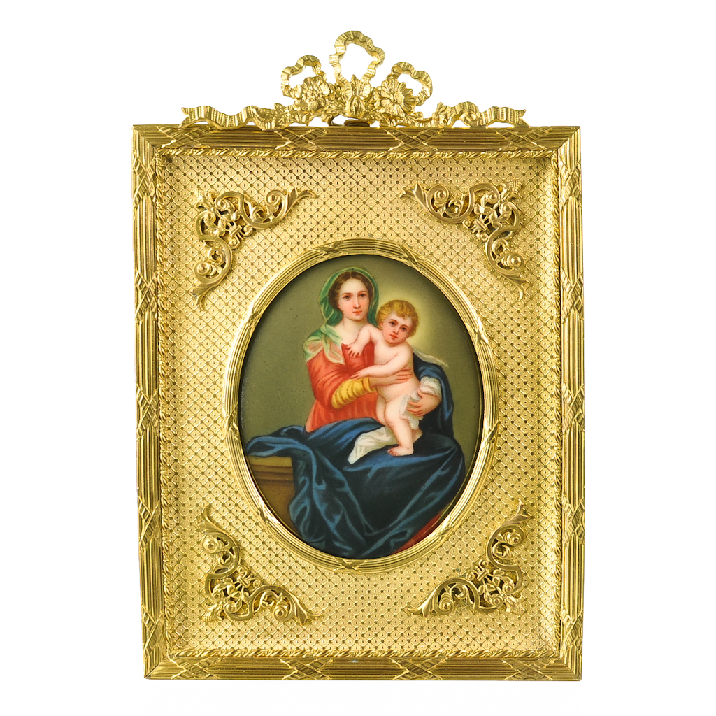Antique Miniature Painting Madonna and Child - Firenze Porcelain Plaque - Gilt Ormolu Frame