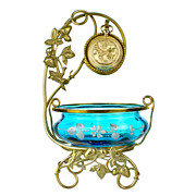 Antique Bohemian Blue Enameled Glass & Ormolu Pocket Watch Holder Vanity Stand
