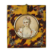 Antique French Portrait Miniature Hand Painted - Pique Inlaid Faux Tortoiseshell Frame - Madame du Barry