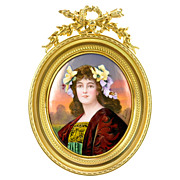 Antique French Limoges Enamel Miniature Portrait - Gilt Bronze Frame - Artist Signed Lescot