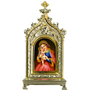 Antique Madonna & Child -  Miniature Painting Maria Hilf on  Hutschenreuther Porcelain Plaque - Erhard & Söhne Frame