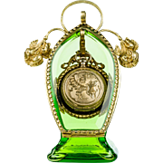 Antique Green Glass Pocket Watch Holder Stand Vitrine in Art Nouveau Style