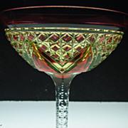 American Brilliant Period 3 Color Champagne Glass