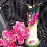 "13"" Tall Bavaria Porcelain Hand Painted Roses Vase, Artist Signed"