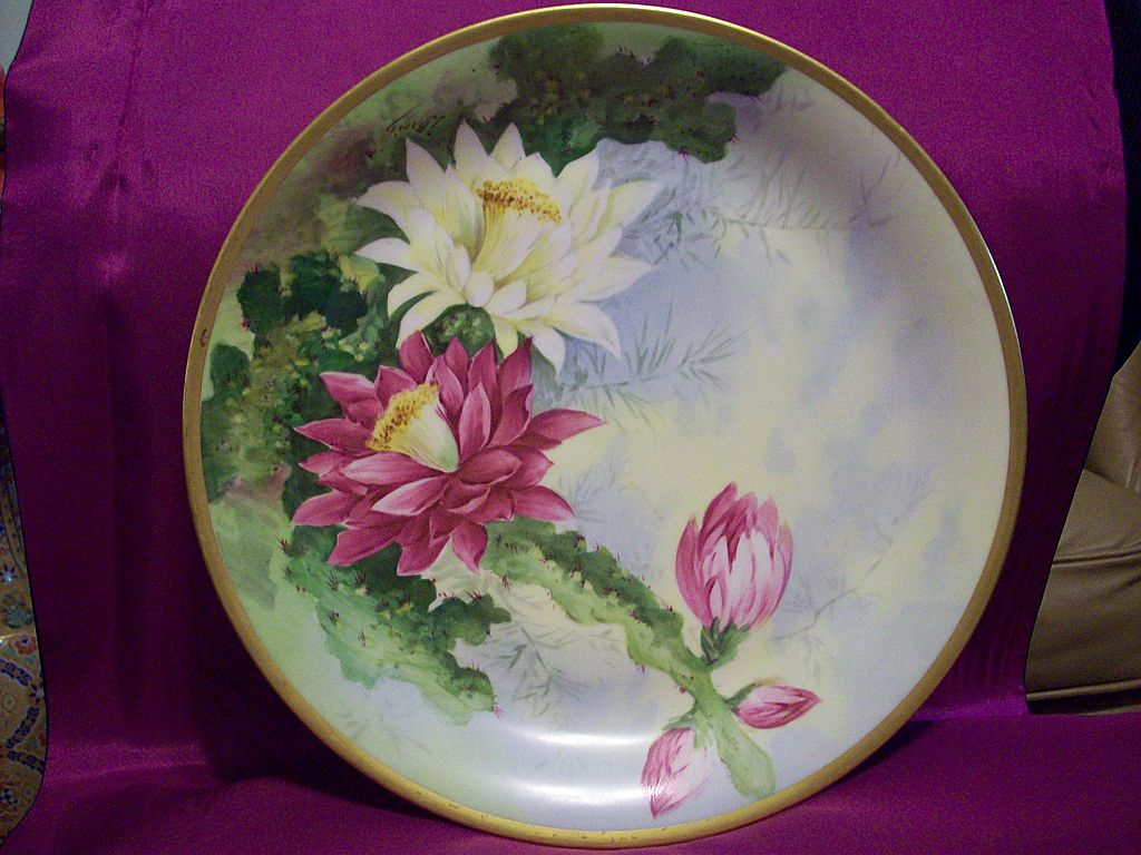 Limoges hand painted Cactus Flower Charger, Limoges  Artist  j.Barin  Signed