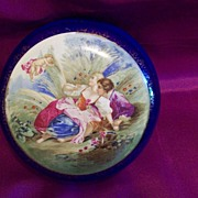 Vintage Porcelain Hand Painted Cobalt  Dresser  Powder Jar Trinket Box