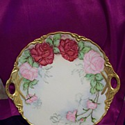 Fabulous  Vintage Bavaria Germany Hand Painted Roses Charger, Artist Signed