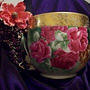 Huge Gorgeous  Limoges Hand Painted Rose Jardiniere Planter Vase, Artist Signed