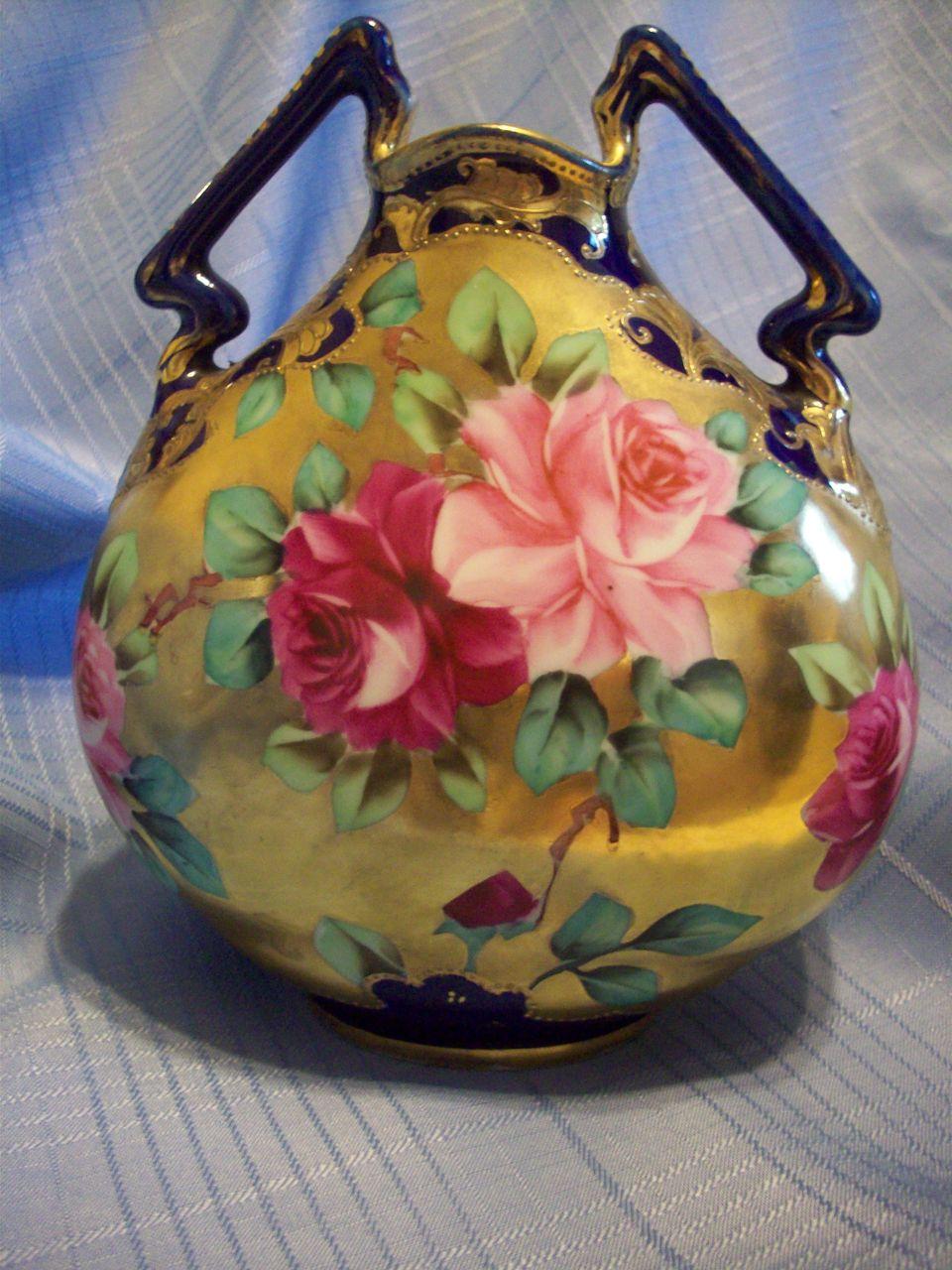 Hand Painted Nippon Vase Rose