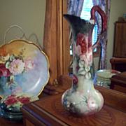 Rare Gorgeous P.H. Leonard Limoges Hand Painted  Rose Ewer  Pitcher Vase Tankard, Twisted Ribbon Handle, Artist Pifer Signed,Ca 1898-1908