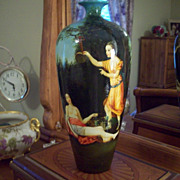 "14"" Tall  Fabulous Limoges Hand Painted Portrait Scene Vase, 4 Semi-Nude Women,Ca 1890-1932"