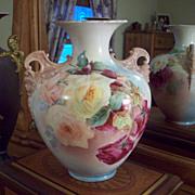 Stunning American  Belleek Ceramic Art Company (CAC) Hand Painted Cherub Face Handle Rose Vase,Dated 1898