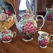 Gorgeous Vintage  Bavaria Bareuther Hand Painted Rose Tea Coffee Chocolate Pot/Creamer/Sugar Bowl Set,Very Fine-quality
