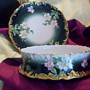 Large Gorgeous Limoges Hand Painted Dogwood Pudding Bowl  Ferner  & Underplate Charger Set,Ca 1892-1900