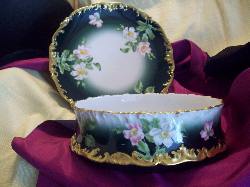 Large Gorgeous Limoges Hand Painted Dogwood Pudding Bowl
