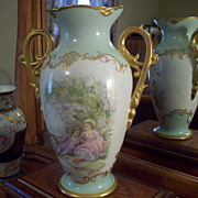 "15.5"" Huge Limoges Hand Painted Portrait Vase, Ca Early1900's"