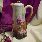 Stunning Haviland Limoges Hand Painted Rose Coffee Chocolate Pot,Ca 1894-1931
