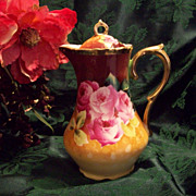 "Fabulous Bavaria Germany  Hand Painted Rose Chocolate /Coffee Pot, ""American Beauty"". Artist Signed, Ca Early 1900's"