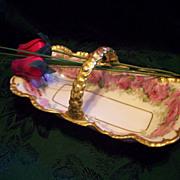 Rare Beautiful Limoges Hand Painted Rose Basket,Ca 1890-1932